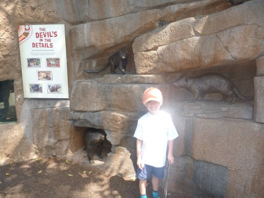 T checking out the Tazmanian devil enclosure inside the new Outback region at the San Diego Zoo.