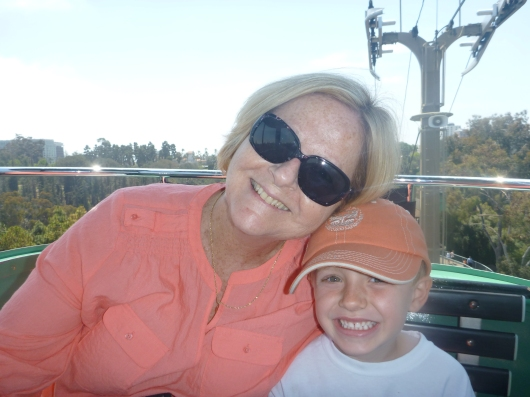 Grandma Beep and T on the Skyfari at the San Diego Zoo.