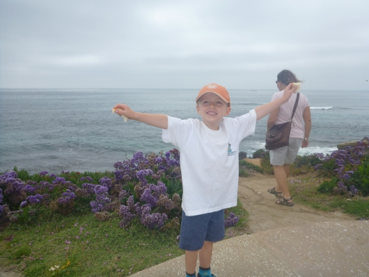T about to fly away with the birds at La Jolla Cove.