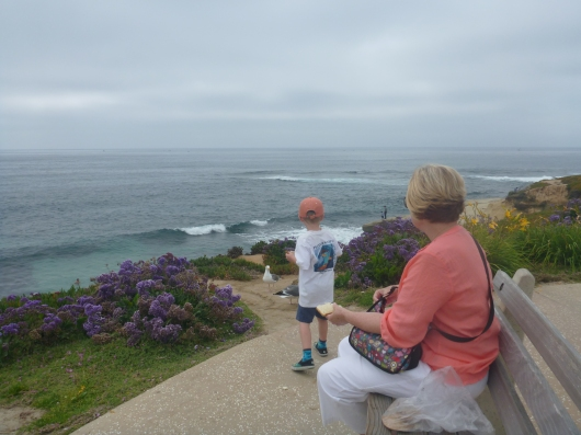 Grandma Beep and T feeding the birds together at La Jolla Cove near Windansea Beach.
