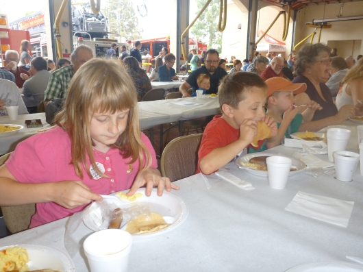 The kids chowed down at the pancake breakfast last Sunday morning.
