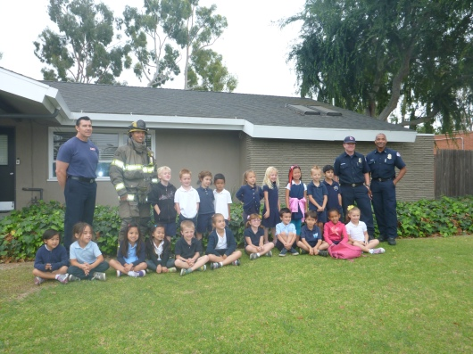 The TK class at Tincher with the crew from Fire Station 22 in Long Beach (CA). Thanks for a great field trip, guys!