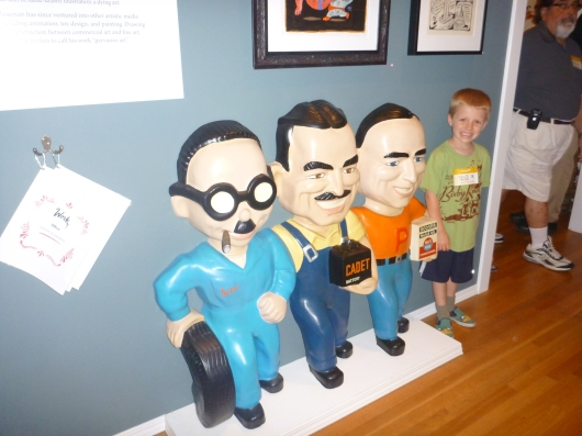 Hey, it's Manny, Moe, Jack... and T! I didn't read up as to why MM&J were here inside of the Gary Baseman exhibit, but maybe my friend can remind me (or one of you, RMT'ers)!