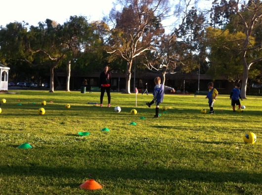 "Week five introduced the ""Star Wars"" game of kicking the ball at the Death Star soccer ball. The kids LOVED it!"