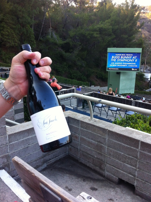 Sea Smoke pinot noir at the Hollywood Bowl. Again, yes, this is OK to bring inside.