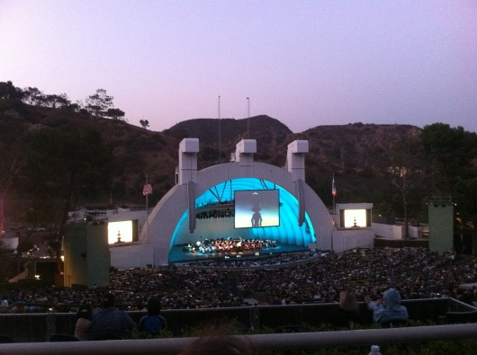 """Bugs Bunny is about to begin! Notice that he's in the Hollywood Bowl in this cartoon. It was quite common for the Bowl to be a featured """"character"""" in the Warner Bros. cartoons due to the studio's LA connections and history."""