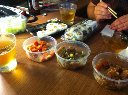 Sushi and poke from Island Gourmet at the Queens' Marketplace in Waikoloa. No, not entirely cheap, but much less expensive than going to any restaurant for this high of quality and volume!