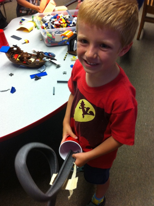 T got to take home part of the marble run (non-LEGO materials) he made on Day 2 of camp.