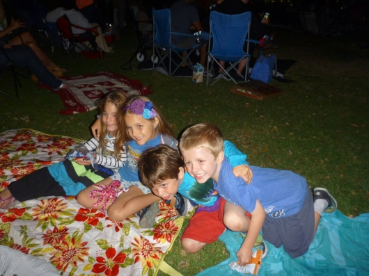 A pile of kids pre-fireworks show.