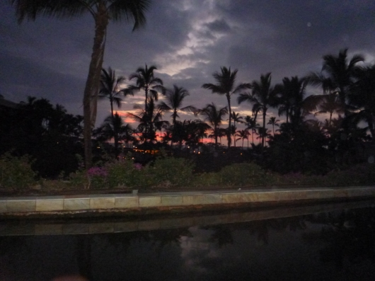 The sun setting on our vacation and at the Hilton Waikoloa Village Resort.