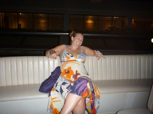 Me in my new (as in that day purchased and wore it out of the store) dress from the Macy's at Kings' Shops.