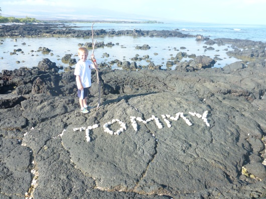Finally, the boys went out and put together a coral-and-rock message together! Yay for daddy-and-a-boy times!