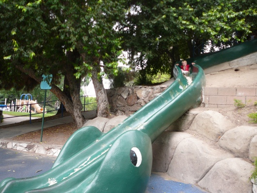 T going down the sea dragon slide in August 2009.