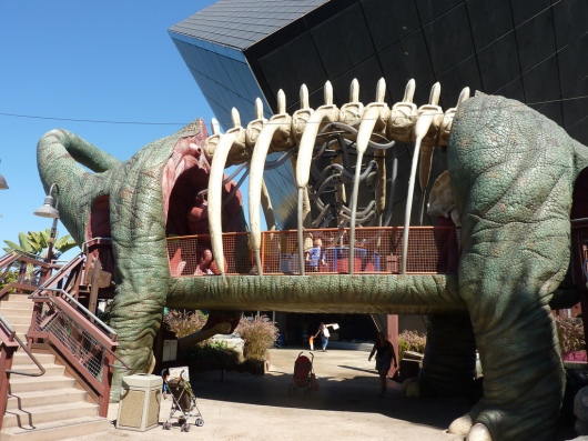 While I didn't get a photo of us playing DinoQuest, here's a photo of the outdoor DinoQuest exhibit at the Discovery Science Center.