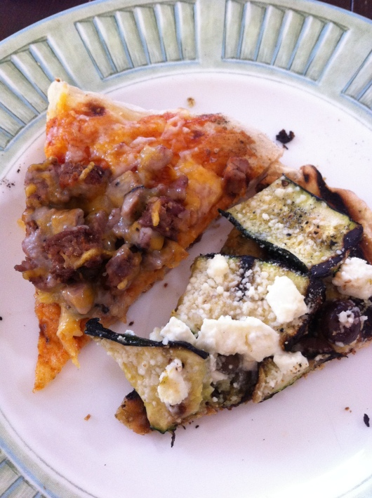 C threw together these pizzas and grilled them on the BBQ one night for dinner. So, SO yummy!