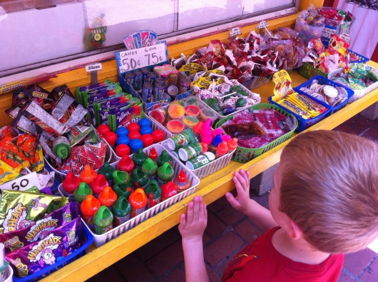 T considers all of his options for a take-away from Olvera Street.