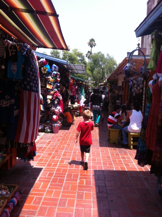 T continued to wander through the stalls of Olvera Street trying to find the perfect souvenir from his first visit.