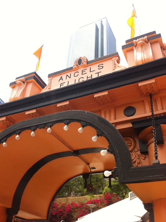Angels Flight, the long-standing funicular railway at the Hill Street entrance in Downtown Los Angeles.