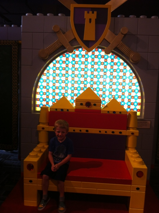 His Royal Majesty, T, enjoying the LEGO Castle exhibit at the Discovery Science Center.