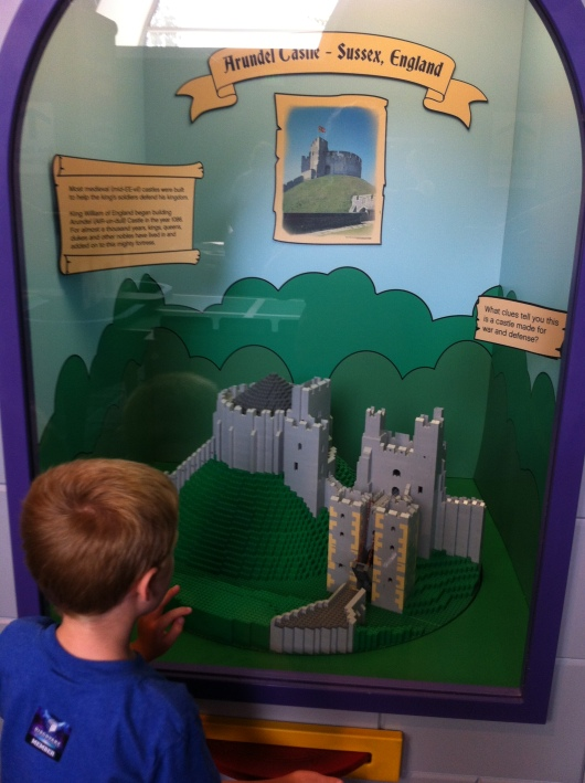 Even T wanted to take a look at the cool castle builds inside the LEGO Castle exhibit at the Discovery Science Center.