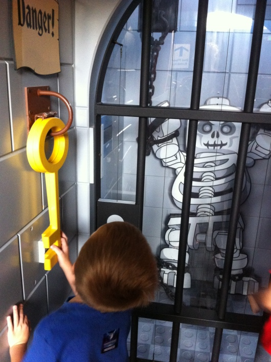 This was one of the more popular areas of the LEGO Castle exhibit. The skeleton key is a secret door knocker and when tapped it lights up the skeleton in the prison cell.
