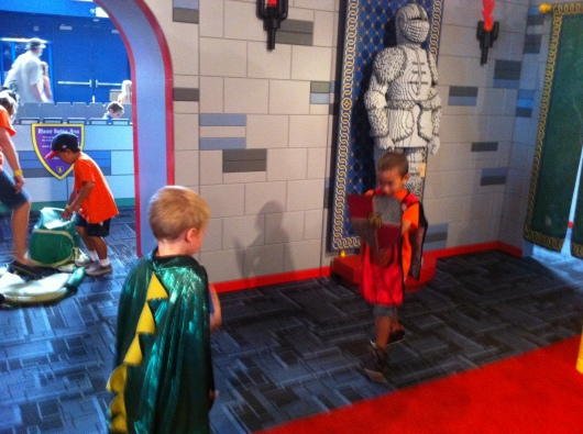 T decided to play the dragon during his time at Discovery Science Center's LEGO Castle.