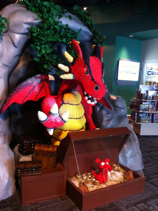Watch out for this LEGO dragon! He and a whole slew of other medieval-themed LEGO structures and other displays greet visitors at the Discovery Science Center.