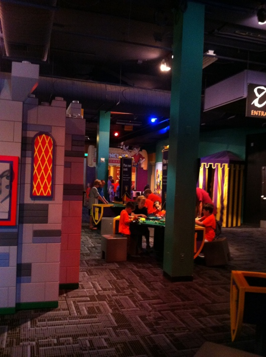 One of the construction areas inside the LEGO Castle exhibit at Discovery Science Center.