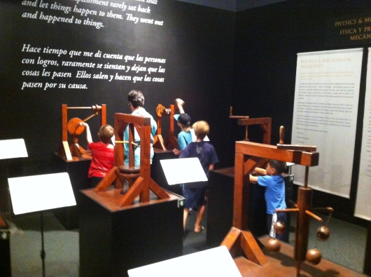 At first I was concerned by the lack of hands-on activities at the DaVinci exhibit, but then we found these machine models.