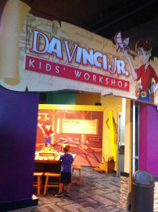 This was an area of the DaVinci exhibit specifically designed for younger visitors. Here kids could build bridges and other structures and simple machines (levers, wedges, etc.).
