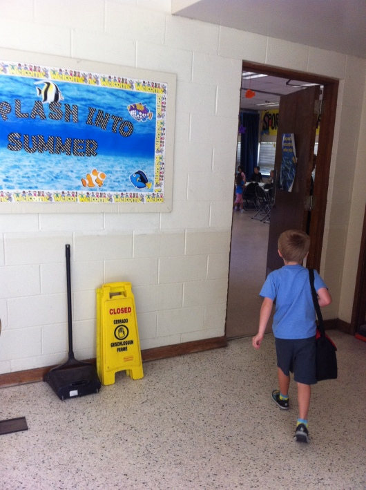 T heading in for drop-off at Pee Wee Camp. Wait up, T!