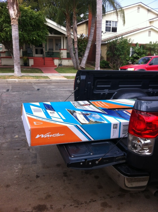 Look what we dragged home from Costco this past weekend? Yup, a SUP!