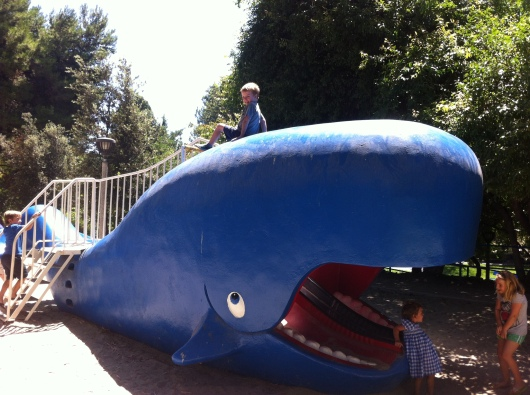 This was how T preferred to play on the whale slide this visit, about four years after the last time he was here.