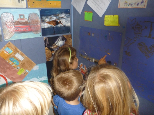 The kids all got a kick out of looking at the thank you notes and artwork from other school kids from previous field trips and group visits. The Cabrillo Marine Aquarium prides itself on public educational outreach and has since the late-1940s when they hosted their first school visitors.