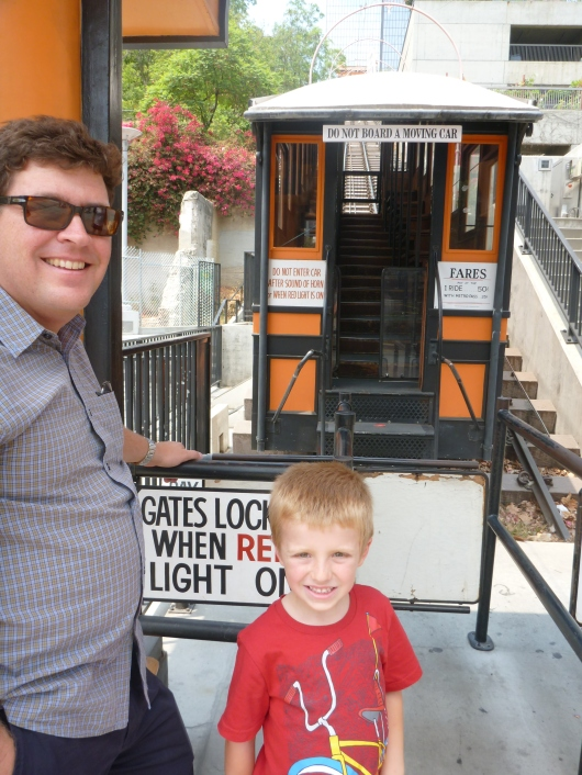 The boys wait to board Angels Flight in Downtown LA.