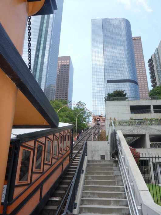 A view up Bunker Hill in Downtown LA from the Hill Street Angels Flight boarding station.