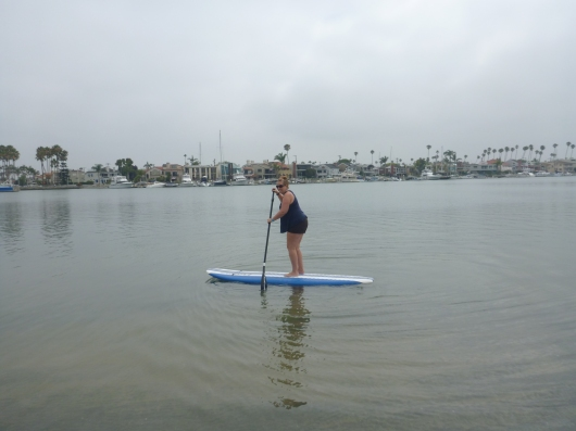 Heading back out into Alamitos Bay in Long Beach (CA). Even on an overcast morning this is one gorgeous spot in Southern California to go SUP'ing.