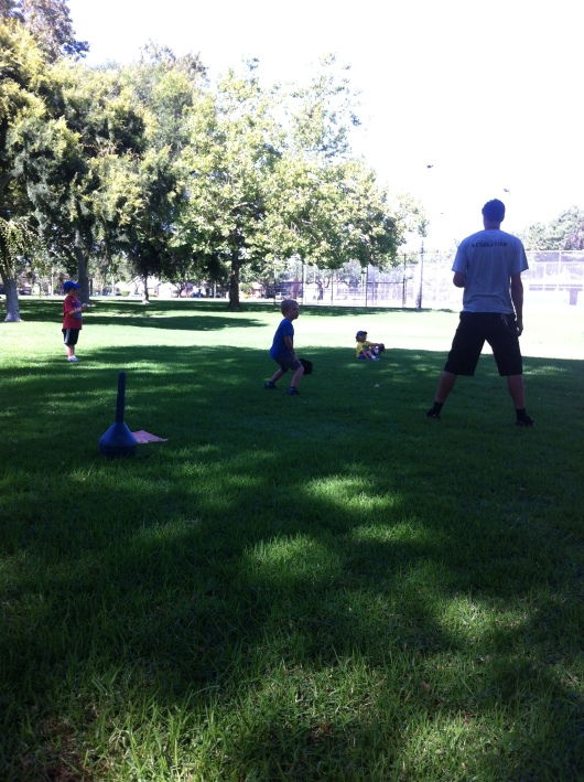 Coach Chris showed the kids how to field during their second practice.