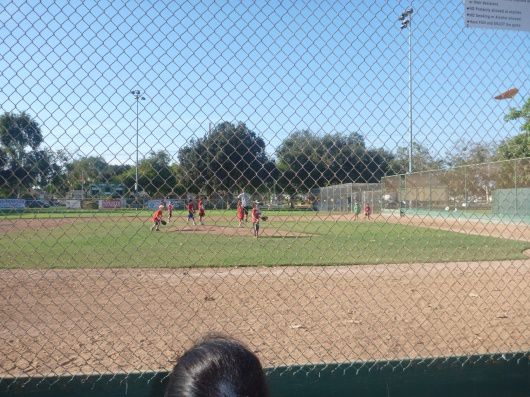 This is how the kids wound up on the field after a few hits... all around that pitcher's mound.