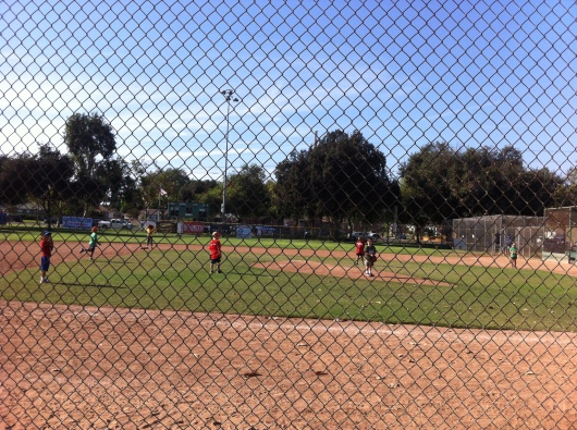 "This is how the kids were positioned by Coach Chris in a typical game. We played on a ""Babe Ruth""-sized field, which meant long base paths and 200+-foot fences, so the kids kept to the infield most of the game."