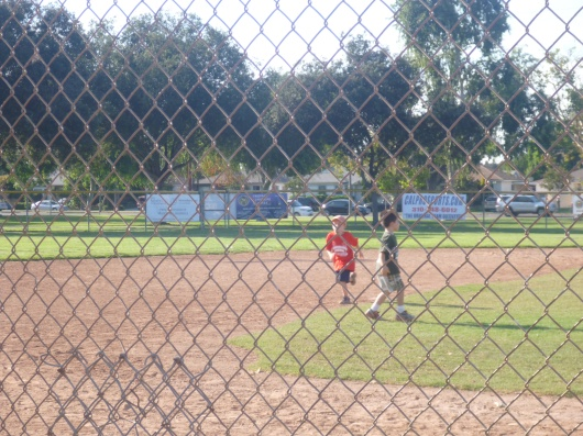 It was after this run to third when T made his first T-ball funny for the season.