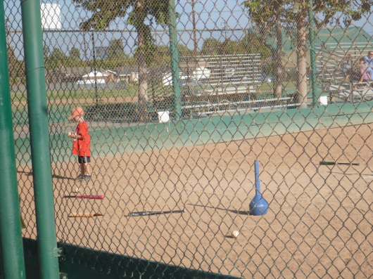 T examines a ball before his at-bat. This was common, and quite cute.