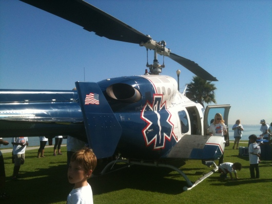 As walkers returned to the Family Funzone site at last year's iWalk, this helicopter touched down. It is scheduled to return to this year's iWalk Family Funfest as well.
