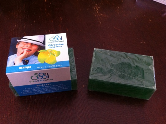 Two-pack of Mango Glycerin Soap from SoCoolKids (one removed from package).