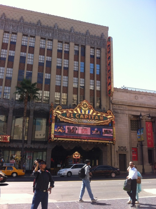 A view of Disney's El Capitan Theatre's marquee from across the street at Hollywood and Highland.