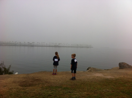 T and his friend before the start of the walk. It was pretty fogged in when we arrived!