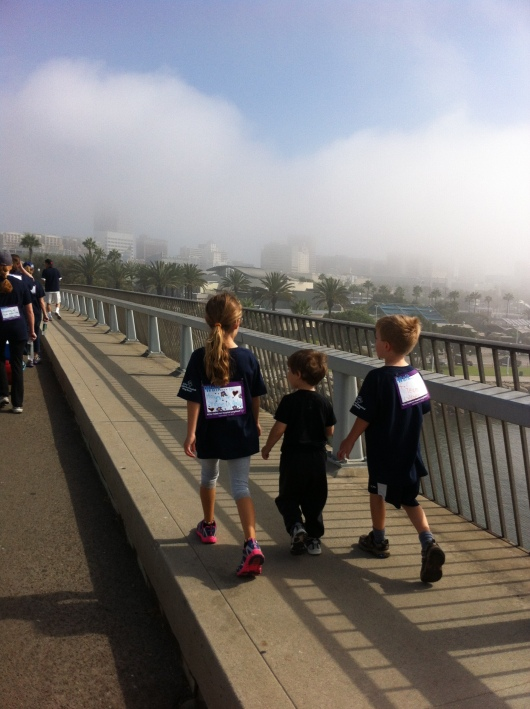 The three kids heading over the Queensway Bridge during the 2013 iWalk... for Kids.