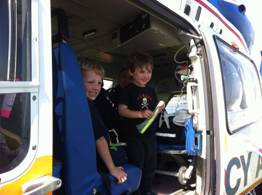 The kids loved being able to go inside the helicopter. What kid wouldn't?!