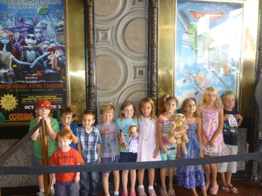 The kids before the movie Planes at the El Capitan Theatre.