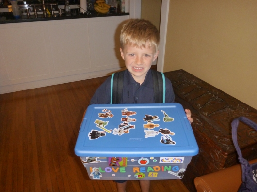 T ready for school Monday with his new book box in hand!